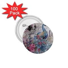 French Vintage Chandelier Blue Peacock Floral Paris Decor 1 75  Button (100 Pack)