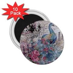 French Vintage Chandelier Blue Peacock Floral Paris Decor 2.25  Button Magnet (10 pack)