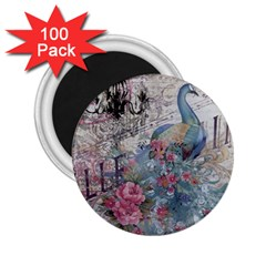 French Vintage Chandelier Blue Peacock Floral Paris Decor 2 25  Button Magnet (100 Pack)