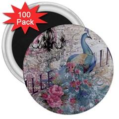 French Vintage Chandelier Blue Peacock Floral Paris Decor 3  Button Magnet (100 pack)