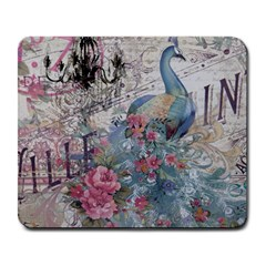 French Vintage Chandelier Blue Peacock Floral Paris Decor Large Mouse Pad (Rectangle)