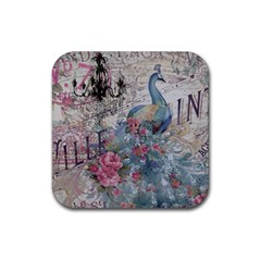 French Vintage Chandelier Blue Peacock Floral Paris Decor Drink Coasters 4 Pack (Square)