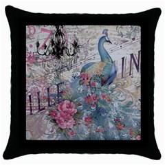 French Vintage Chandelier Blue Peacock Floral Paris Decor Black Throw Pillow Case
