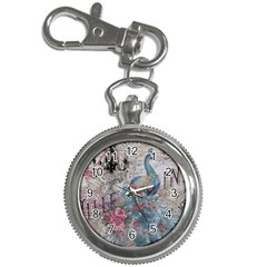 French Vintage Chandelier Blue Peacock Floral Paris Decor Key Chain & Watch