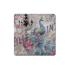 French Vintage Chandelier Blue Peacock Floral Paris Decor Magnet (square)