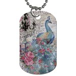 French Vintage Chandelier Blue Peacock Floral Paris Decor Dog Tag (One Sided) Front
