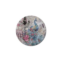 French Vintage Chandelier Blue Peacock Floral Paris Decor Golf Ball Marker 4 Pack