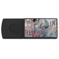 French Vintage Chandelier Blue Peacock Floral Paris Decor 1GB USB Flash Drive (Rectangle)