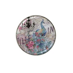 French Vintage Chandelier Blue Peacock Floral Paris Decor Golf Ball Marker 4 Pack (for Hat Clip)
