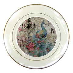 French Vintage Chandelier Blue Peacock Floral Paris Decor Porcelain Display Plate