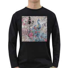 French Vintage Chandelier Blue Peacock Floral Paris Decor Mens' Long Sleeve T-shirt (Dark Colored)