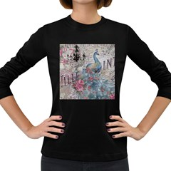 French Vintage Chandelier Blue Peacock Floral Paris Decor Womens' Long Sleeve T Shirt (dark Colored)
