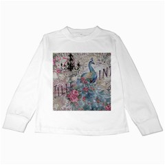 French Vintage Chandelier Blue Peacock Floral Paris Decor Kids Long Sleeve T-Shirt