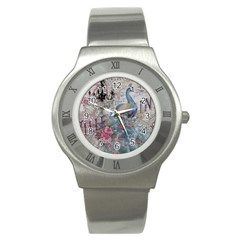 French Vintage Chandelier Blue Peacock Floral Paris Decor Stainless Steel Watch (unisex)