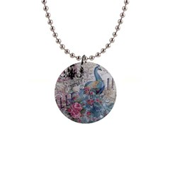 French Vintage Chandelier Blue Peacock Floral Paris Decor Button Necklace