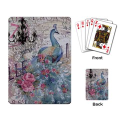 French Vintage Chandelier Blue Peacock Floral Paris Decor Playing Cards Single Design
