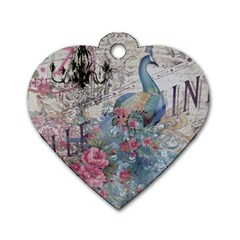 French Vintage Chandelier Blue Peacock Floral Paris Decor Dog Tag Heart (one Sided)