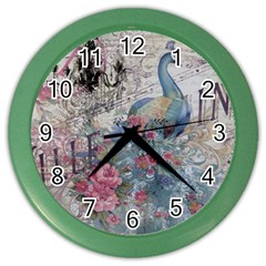 French Vintage Chandelier Blue Peacock Floral Paris Decor Wall Clock (Color)