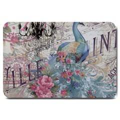French Vintage Chandelier Blue Peacock Floral Paris Decor Large Door Mat