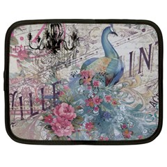 French Vintage Chandelier Blue Peacock Floral Paris Decor Netbook Case (Large)
