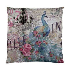 French Vintage Chandelier Blue Peacock Floral Paris Decor Cushion Case (Two Sided)