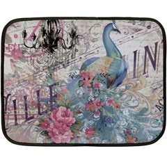 French Vintage Chandelier Blue Peacock Floral Paris Decor Mini Fleece Blanket (Two Sided)