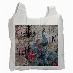 French Vintage Chandelier Blue Peacock Floral Paris Decor Recycle Bag (One Side)