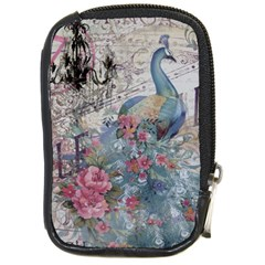 French Vintage Chandelier Blue Peacock Floral Paris Decor Compact Camera Leather Case