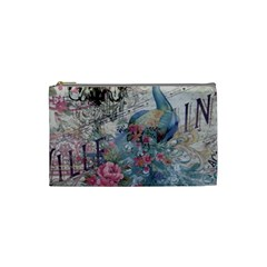 French Vintage Chandelier Blue Peacock Floral Paris Decor Cosmetic Bag (Small)