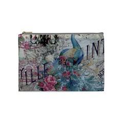 French Vintage Chandelier Blue Peacock Floral Paris Decor Cosmetic Bag (Medium)
