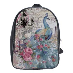 French Vintage Chandelier Blue Peacock Floral Paris Decor School Bag (large)