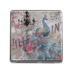 French Vintage Chandelier Blue Peacock Floral Paris Decor Memory Card Reader with Storage (Square)