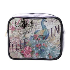 French Vintage Chandelier Blue Peacock Floral Paris Decor Mini Travel Toiletry Bag (One Side)