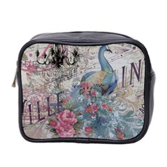 French Vintage Chandelier Blue Peacock Floral Paris Decor Mini Travel Toiletry Bag (Two Sides)