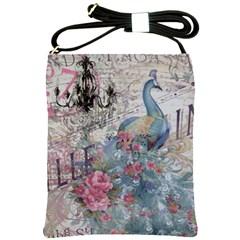 French Vintage Chandelier Blue Peacock Floral Paris Decor Shoulder Sling Bag