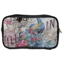 French Vintage Chandelier Blue Peacock Floral Paris Decor Travel Toiletry Bag (Two Sides)