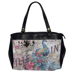 French Vintage Chandelier Blue Peacock Floral Paris Decor Oversize Office Handbag (Two Sides)