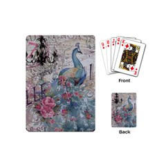 French Vintage Chandelier Blue Peacock Floral Paris Decor Playing Cards (Mini)