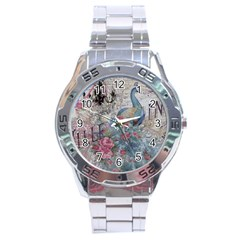 French Vintage Chandelier Blue Peacock Floral Paris Decor Stainless Steel Watch (Men s)