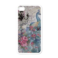 French Vintage Chandelier Blue Peacock Floral Paris Decor Apple iPhone 4 Case (White)