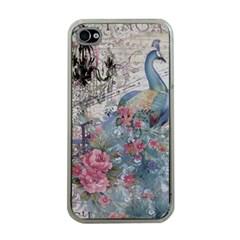 French Vintage Chandelier Blue Peacock Floral Paris Decor Apple iPhone 4 Case (Clear)
