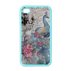 French Vintage Chandelier Blue Peacock Floral Paris Decor Apple Iphone 4 Case (color)