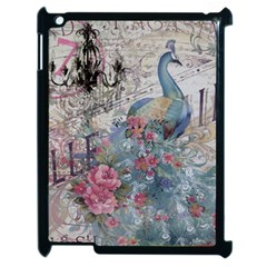 French Vintage Chandelier Blue Peacock Floral Paris Decor Apple iPad 2 Case (Black)