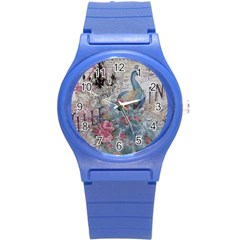 French Vintage Chandelier Blue Peacock Floral Paris Decor Plastic Sport Watch (small)