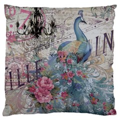 French Vintage Chandelier Blue Peacock Floral Paris Decor Large Cushion Case (Single Sided)
