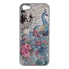 French Vintage Chandelier Blue Peacock Floral Paris Decor Apple iPhone 5 Case (Silver)