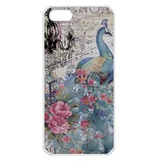 French Vintage Chandelier Blue Peacock Floral Paris Decor Apple Iphone 5 Seamless Case (white)
