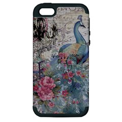 French Vintage Chandelier Blue Peacock Floral Paris Decor Apple iPhone 5 Hardshell Case (PC+Silicone)