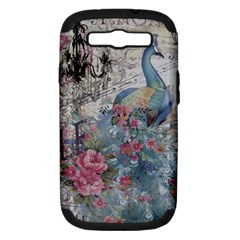 French Vintage Chandelier Blue Peacock Floral Paris Decor Samsung Galaxy S III Hardshell Case (PC+Silicone)