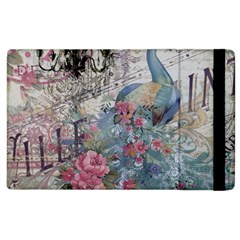 French Vintage Chandelier Blue Peacock Floral Paris Decor Apple iPad 3/4 Flip Case